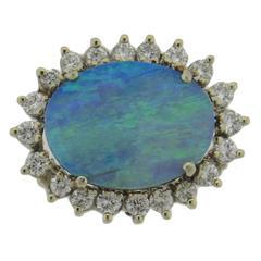 Opal Diamond Gold Pendant Brooch