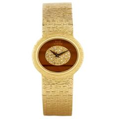 Piaget Yellow Gold Diamond Tiger's Eye Wristwatch