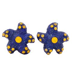 Michael Kanners Lapis Lazuli Gold Sea Star Cufflinks