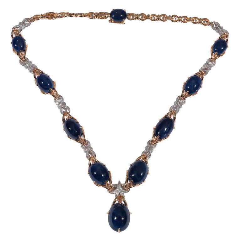 Sapphire Diamond Bicolored Gold Necklace 1