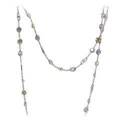35.35 Carat Diamond By The Yard Colored Diamond Necklace