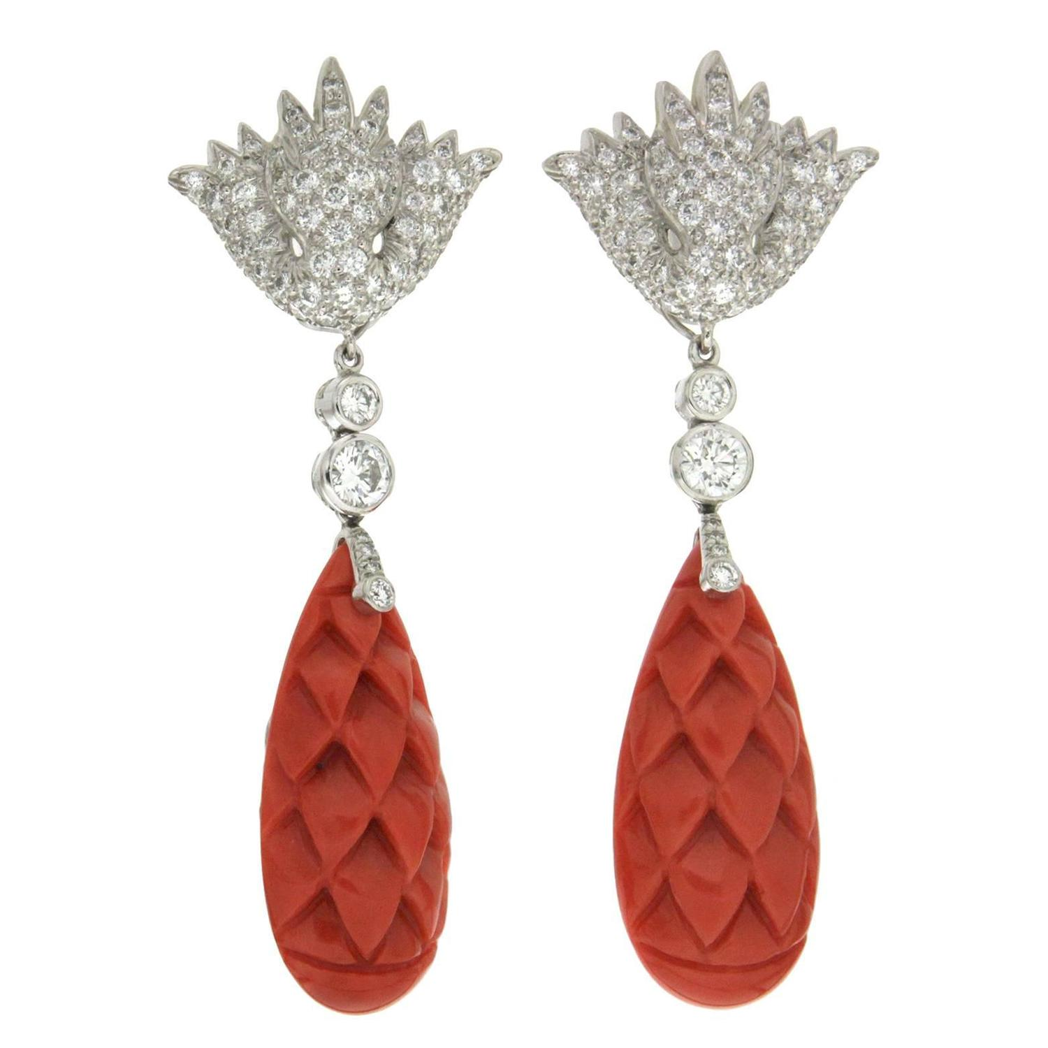 Coral Pearl yx and Diamond Drop Earrings at 1stdibs