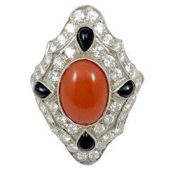 Platinum Art Deco Coral Onyx and Diamond Ring