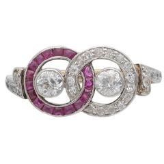 Antique Ruby and Diamond Double Circle Ring