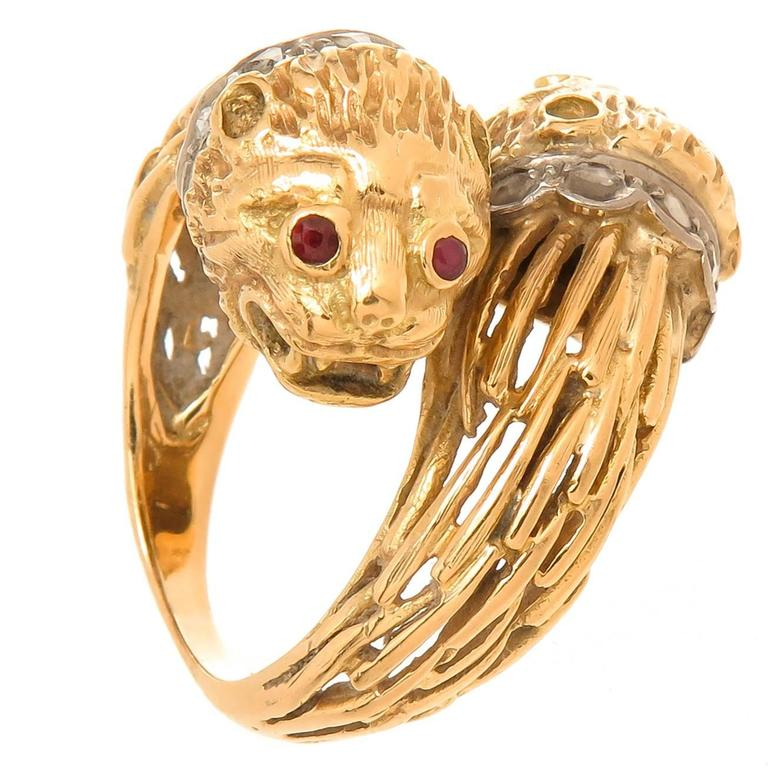 Lalaounis Yellow Gold and gem set Double Lion Head Ring For