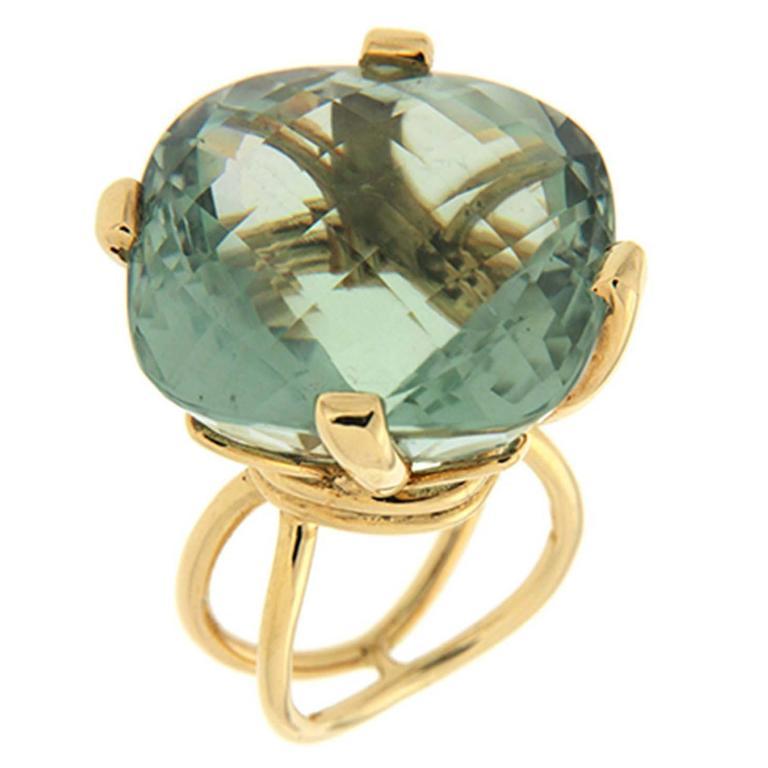 Valentin Magro Large Cushion Green Amethyst Gold Ring