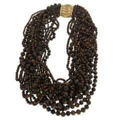 Tiger's Eye Bead Multi Strand Necklace with Gold Clasp