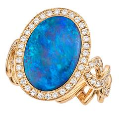 Contemporary Opal, Diamond and Gold Ring