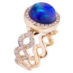 Contemporary Opal and Diamond Twisting Band Ring