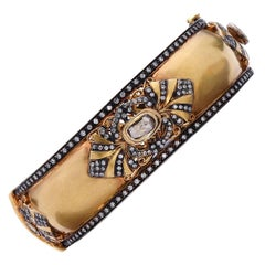 Stunning Diamond Gold Bangle Bracelet