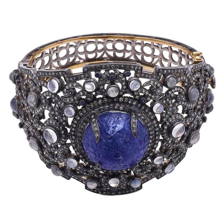 Luxurious Moonstone Sapphire Diamond Silver Gold Bangle Bracelet