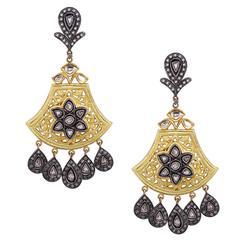 Carved Diamond Silver Gold Dangle Earrings