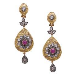 Ruby Diamond Gold Floral Motif Dangle Earrings