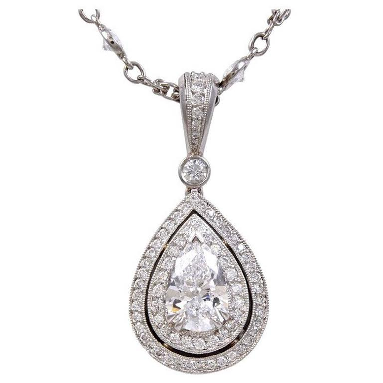 Michael Beaudry Pear-Shaped Diamond Pendant with Diamond Platinum Chain 1