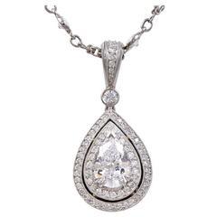 Michael Beaudry Pear-Shaped Diamond Pendant with Diamond Platinum Chain
