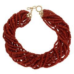 Multi Strands Memmetti Red Coral Necklace