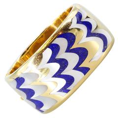 Tiffany & Co. Angela Cummings Inlaid Lapis Mother of Pearl Gold Bangle Bracelet