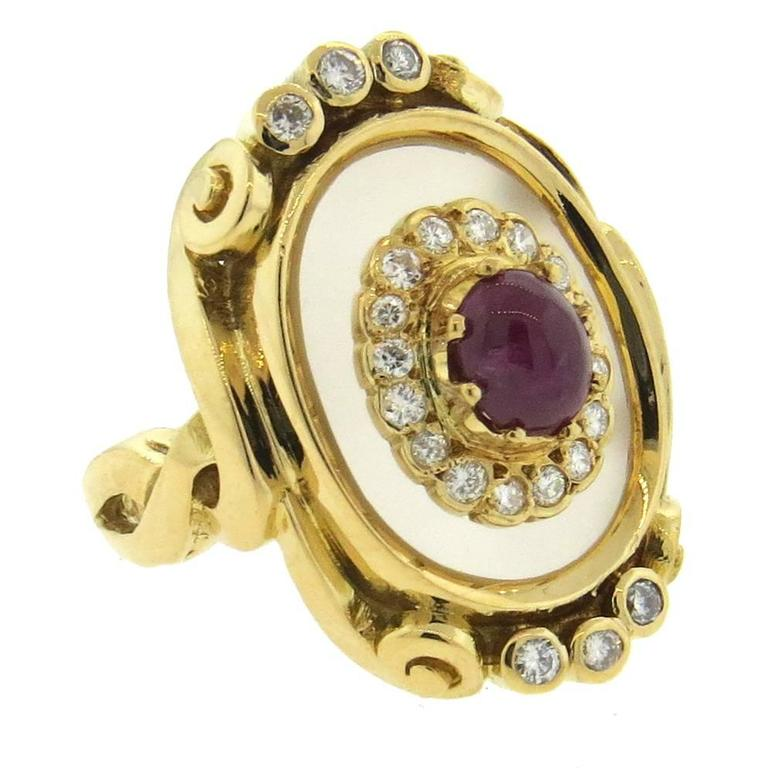 Ilias Lalaounis Frosted Crystal Ruby Diamond Gold Ring  For Sale