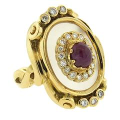 Ilias Lalaounis Frosted Crystal Ruby Diamond Gold Ring