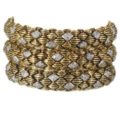 David Webb Three Diamond Gold Link Bracelets