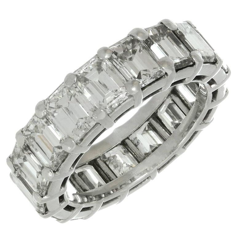 Graff EmeraldCut Diamond Platinum Eternity Wedding Band Ring at