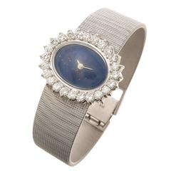 White Gold Diamonds and Lapis Ladies Watch 1970s