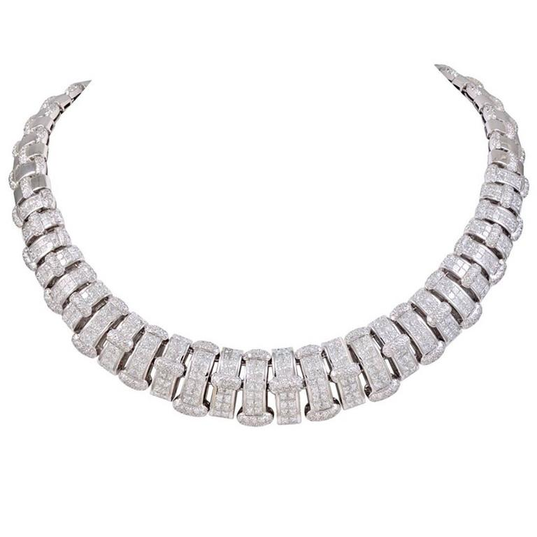 Diamond Gold Collar Necklace For Sale