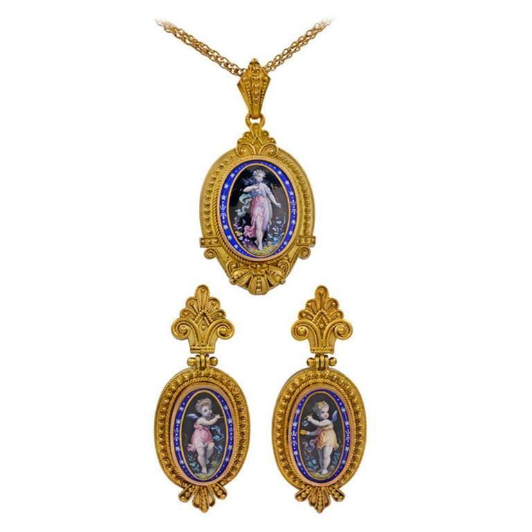 Victorian Enamel Gold Locket Earring Set For Sale