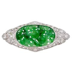 Art Deco Carved Jadeite Jade Platinum Brooch