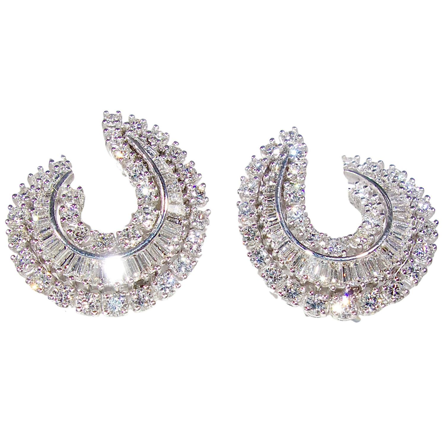 baguette diamonds earrings and baguette cut gold earrings at 1stdibs 7885
