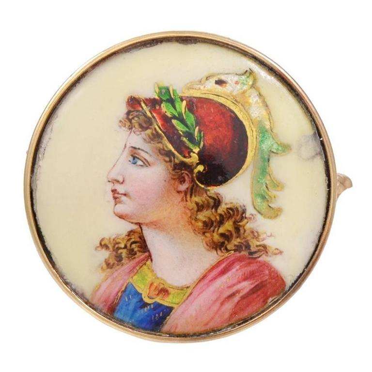Victorian Enamel Gold Brooch and Pendant