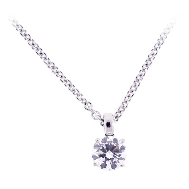 Bulgari 1.01 Carat GIA Cert Diamond Gold Solitaire Necklace
