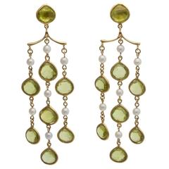 Antique peridot chandelier earrings 11 for sale at 1stdibs peridot pearl gold chandelier earrings mozeypictures Choice Image