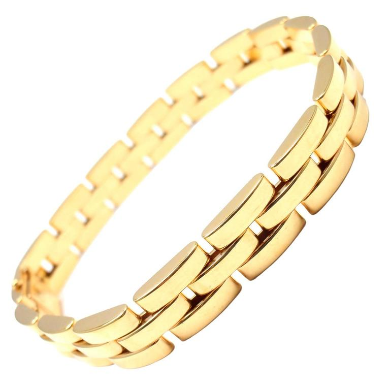 Cartier Maillon Panthere 3 Row Link Gold Bracelet For