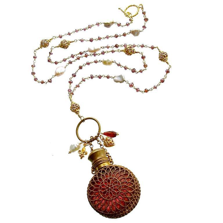 Mystic Garnet Keshi Pearls Cranberry Glass Chatelaine Scent Bottle Necklace 1