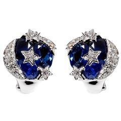 Chanel Comete Sapphire Diamond Gold Earrings