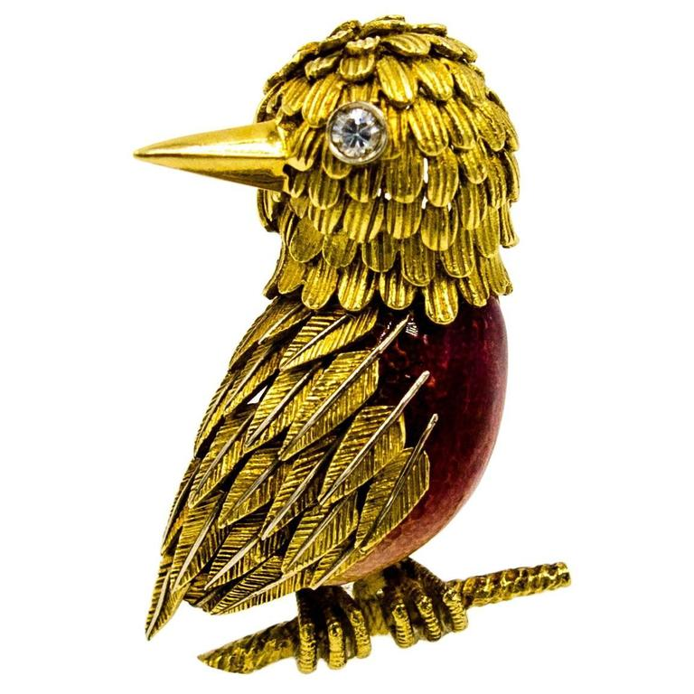 Refined and Detailed Ombre d'Enamel Diamond Gold Bird Pin