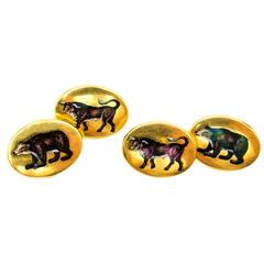 Fiscally Correct Enamel Gold Bull and Bear  Cufflinks