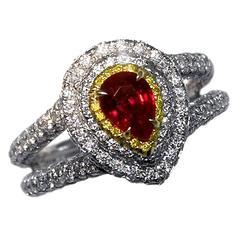 Exquisite Ruby and Diamond Platinum Ring
