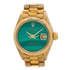 Rolex Lady's Yellow Gold President Malachite Dial Wristwatch Ref 6918