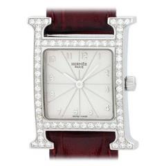 Hermes Lady's Stainless Steel Diamond H-Hour Quartz Wristwatch