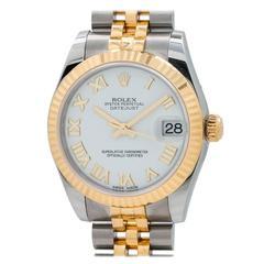 Rolex Yellow Gold Stainless Steel Midsize Datejust Wristwatch Ref 17827