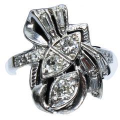 Diamond Gold Bow Ring