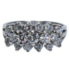 Three Row Diamond 14 Karat White Gold Ring