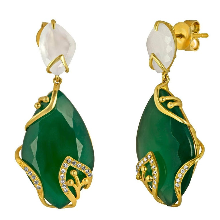 19.03 Carats Green Agate Chalcedony Diamond Gold Earrings For Sale