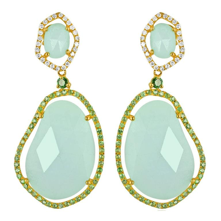 Amazonite Green Garnet Diamond Gold Earrings