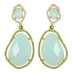 30.36 Carats Amazonite Green Garnet Diamond Gold Earrings
