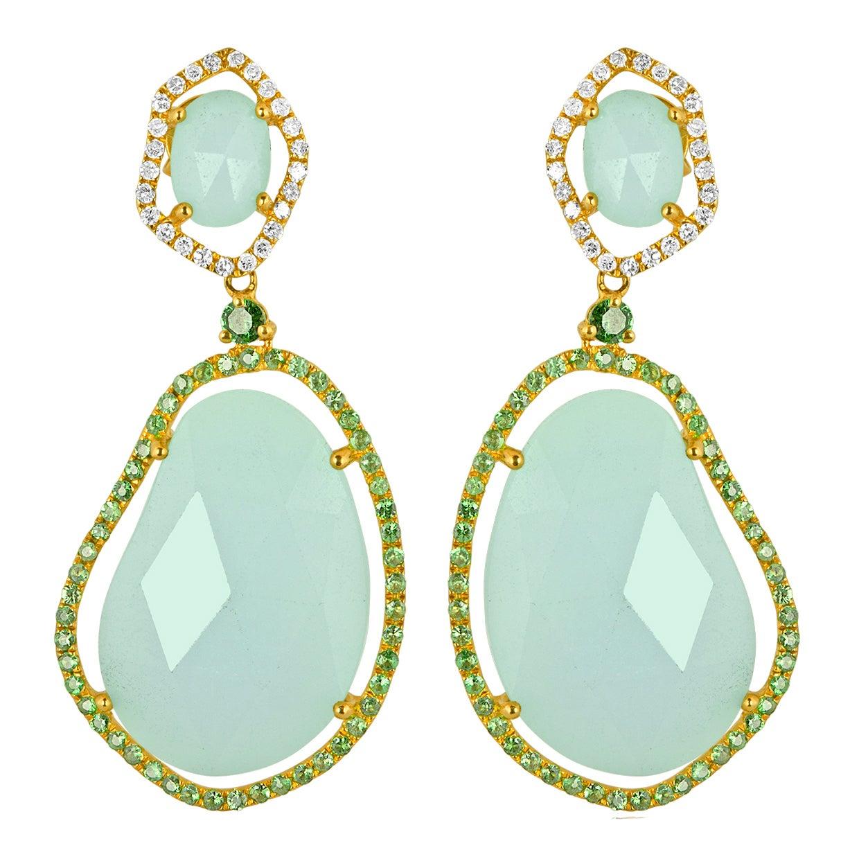 30.36 Carats Amazonite Green Garnet Diamond Gold Earrings