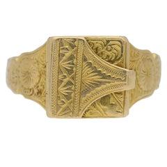 English Gold Locket Ring c1917