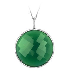 64.54 Carats Green Agate and Diamond Circle Gold Pendant Necklace